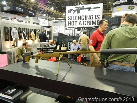 Suppressed rifle at the AAC booth