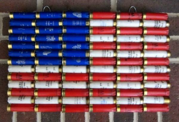 American Flag Shot Gun Shell on S Shell Cutaway